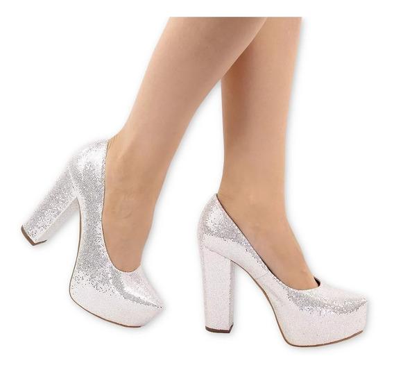 Sapato Scarpin Meia Pata Noiva Salto Grosso Prata Glitter