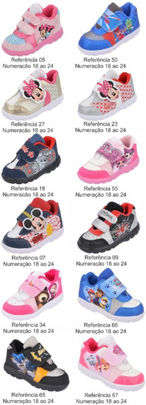 Kit 12 Pares Tênis Infantil Estampas Personagens Atacado