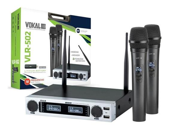 Microfones Sem Fios Vokal Vlr-502 Unidirecional Preto