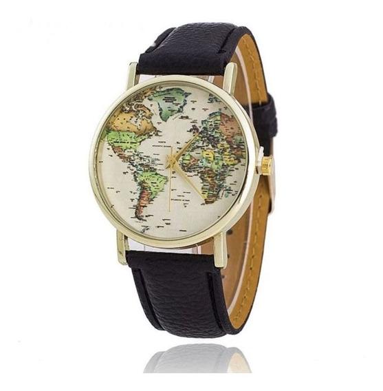 Relógio Mapa Colorido Dourado