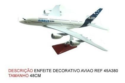 Miniatura De Aviao Airbus A380 Com Base De Madeira Novo