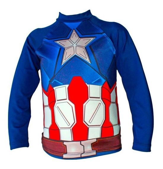 Franela Protección Uv Para Niños! - Capitán América