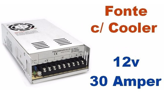 Fonte Chaveada 12v 30 Amperes Com Cooler - Bivolt