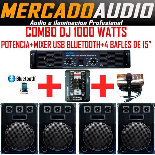 Imagen 1 de 6 de Combo Dj 1000w Potencia+mixer Usb Bluetooth+4 Bafles 15**