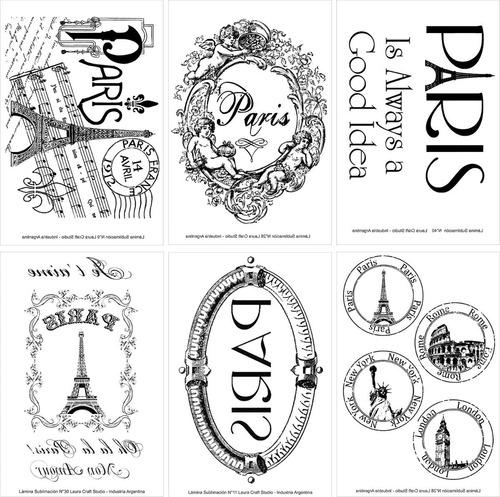 Sublimación Set Paris Vintage X 6 Laura Craft