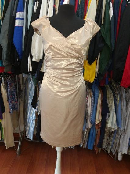 Vestido Plateado Elegante Importado De Fiesta
