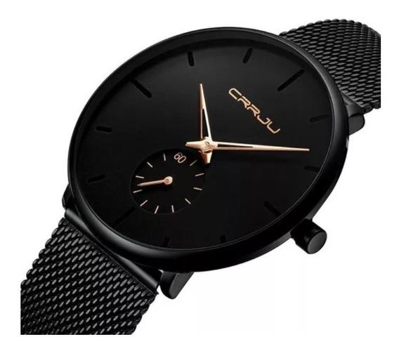 Relógio Masculino Pulseira Preta Super Fino Crrju Aço