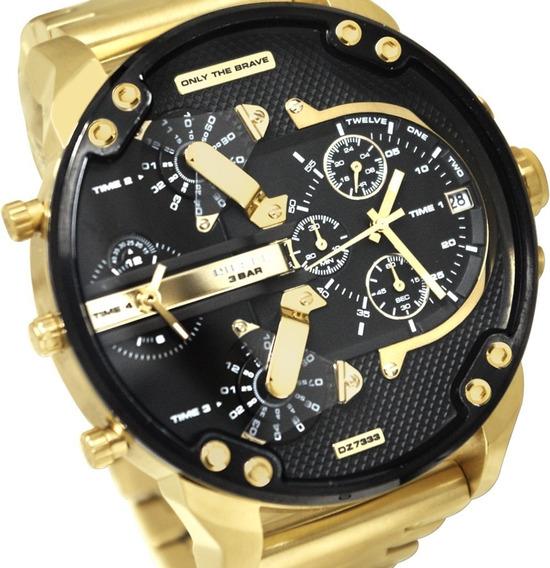 Relógio Masculino Dz 7313 Original Dourado Ouro Promocional