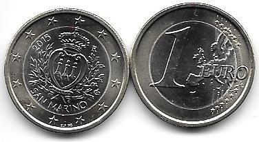 Moneda San Marino Bimetalica 1 Euro Año 2015 Sin Circular
