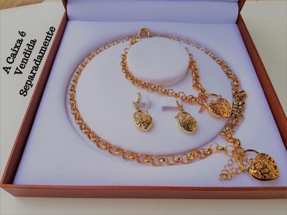 Colar Pulseira Brinco Coração Cadeado 18k Ouro Goldfile C970