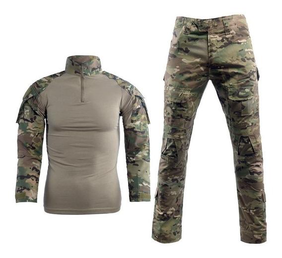 Conjunto Combat Shirt Calça Camuflado Militar Multi Avb Mc