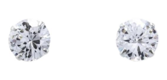 Brinco Masculino Prata Pura 950 Pedra Diamante Sintético 6mm