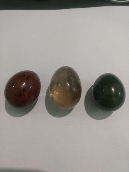 3 Ovos Médio De Quartzo Verde, Fumê E Obsidiana Mahogany 02