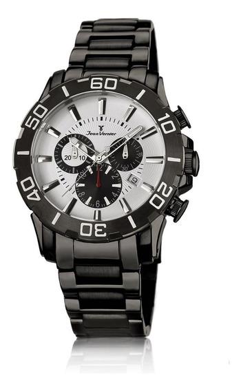 Relógio Pulso Jean Vernier Aço Cronógrafo Masculino Jv01138