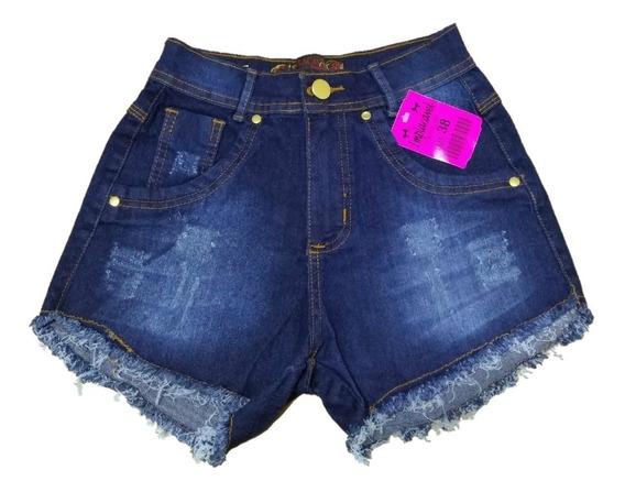 Short Jeans Feminino Hot Pant Cintura Alta Com Botão Lycra