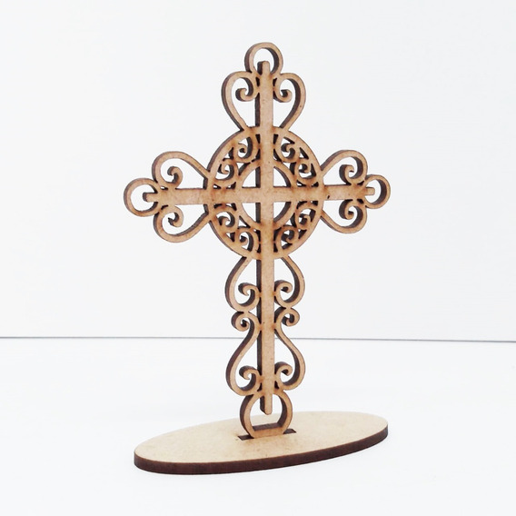 130 Lembrancinha Cristã Cruz Arabesco 1 Ejc Ecc Mdf