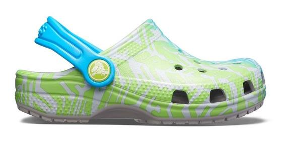 Zapato Crocs Unisex Infantil Classic Graphic Clog Gris/verde