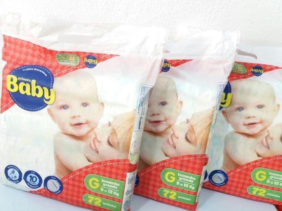 216 Fraldas Primeiro Baby Tamanho G 10hr Proteção Promoção