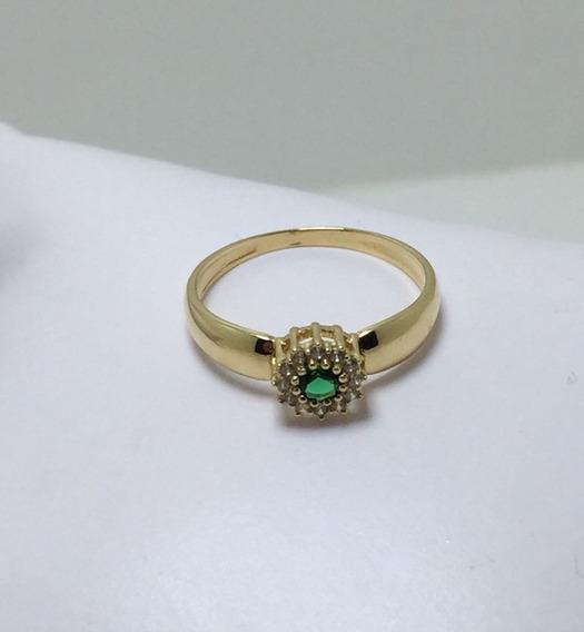 Anel Em Ouro 18k, Formatura Pedra Verde