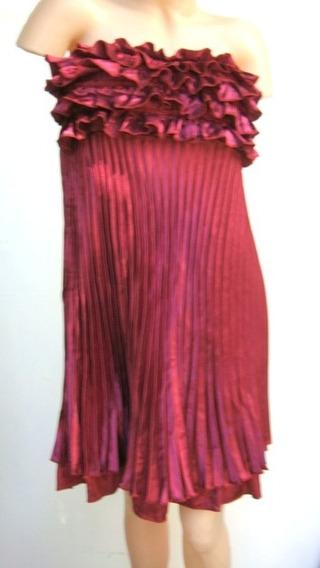 Vestido Fiesta Strapless Raso Plisado Purpura (ana.mar)