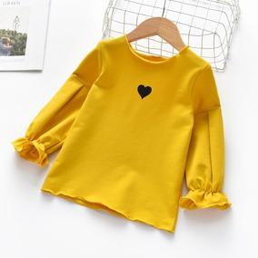 Blusa Para Niña Niñas Manga Larga Corazón