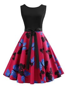 Vestido De Verano Floral Mariposa Impresión Vintage