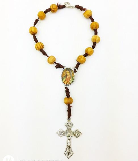 Pulsera Trenzada Virgen De Guadalupe Y Jesucristo