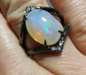 Anel De Ouro 18k Negro Opala Diamantes Naturais Certificados
