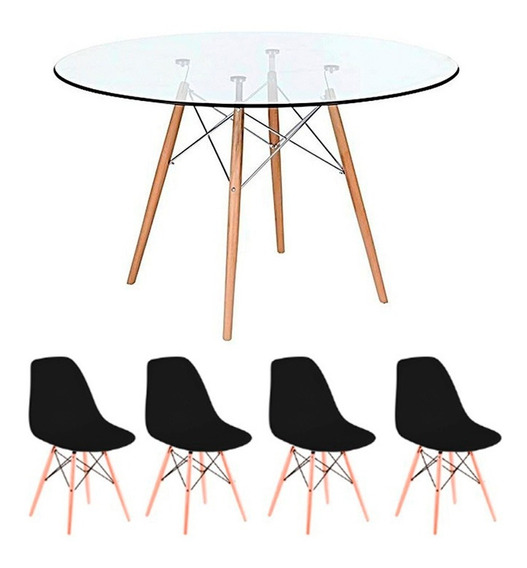 Conj Mesa Jantar 90cm Redonda Vidro + 4 Cadeiras Eames Preto