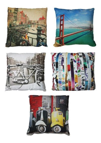 Set 5 Cojin Estampado (amsterd, San Fco,images,bici, Vespas)