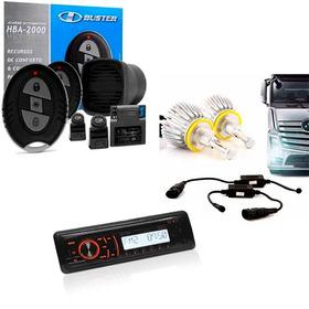 Kit Automotivo Alarme H-buster Som Toca Cd Mp3 E Xenon H1