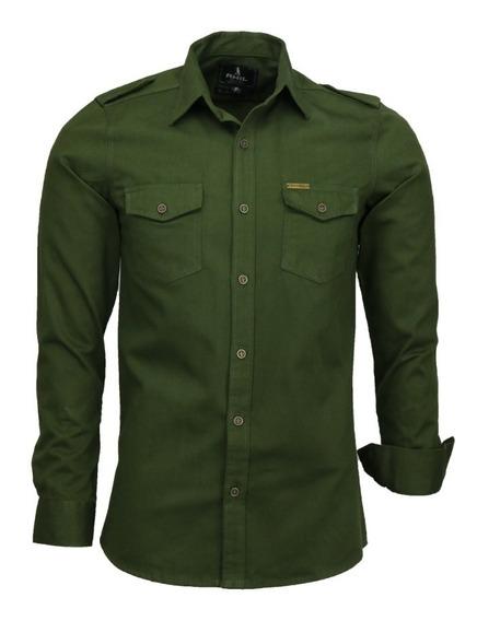 Camisa Amil Slim Paris M Longa Estilo Militar 2 Bolsos 4 Cor