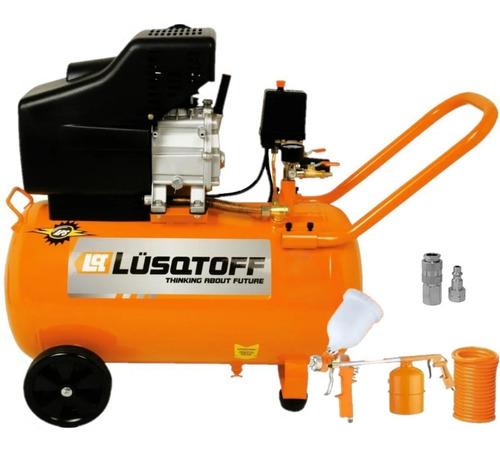 Compresor De Aire Lusqtoff 50 Litros 2.5 Hp + Kit De 5 Piezas Para Pintar Inflar Sopletear