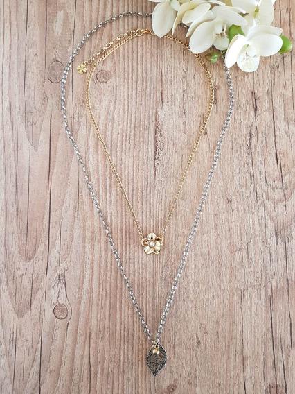 Colar Flor Pérola Dourado E Níquel Excelente Qualidade