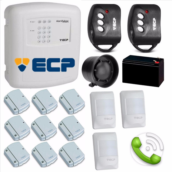Kit Alarme Residencial Ecp C/ 12 Sensores S/ Fio C Discadora