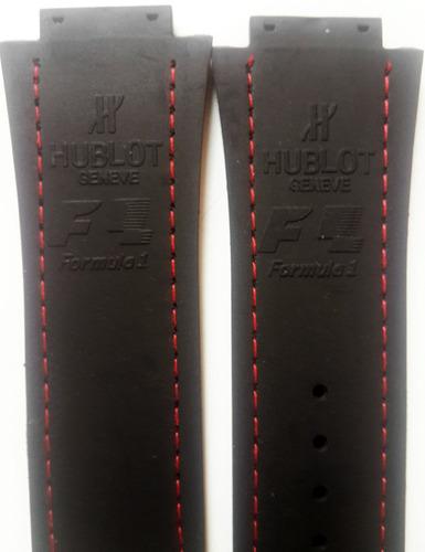 Imagen 1 de 7 de Correa Negra Costuras Rojas 28mm Compatible H/ublot King Pow