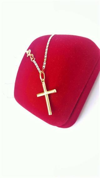 Correntinha De Ouro 18 K Piastrine C Pingente Crucifixo 60cm