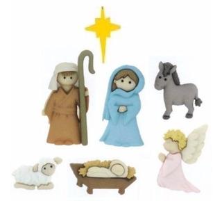 Navidad Botones Figura Pesebre Para Decorar Toallas, Bufanda