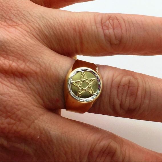 Anel Ouro 18k Pentagrama Estrela Cinco Pontas Maçonaria Aro