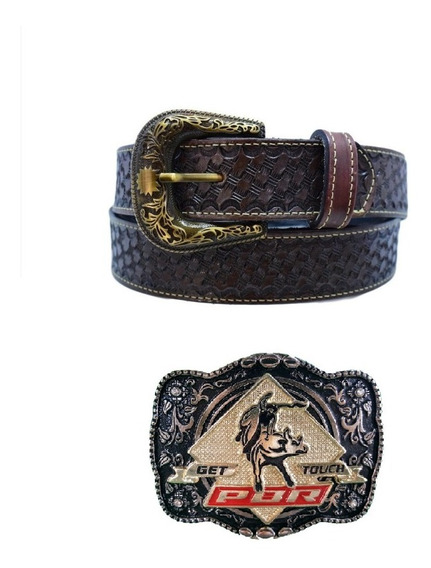 Fivela Cowboy Country Pbr Top Luxo + Cinto Couro Legítimo