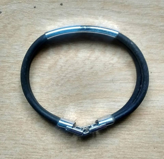 Pulseira Masculina Couro E Metal - Anos 90 - 19,5cm