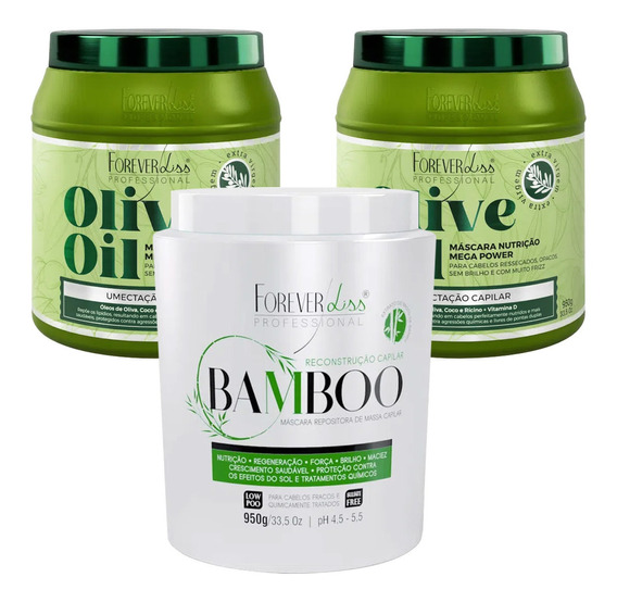 Kit Crescimento Forever Liss Hidratante Bamboo E 2 Olive Oil