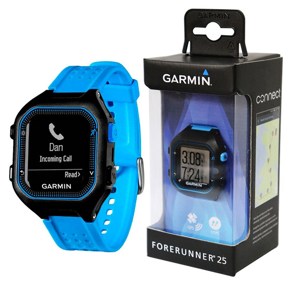 Relógio Gps Monitor Corrida Garmin Forerunner 25 Preto Azul