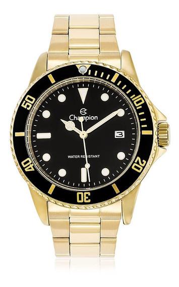 Relógio Masculino Dourado Champion Fundo Preto Original +nf