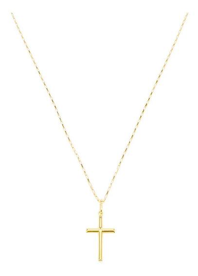 Corrente Cadeado De 60cm Pingente Crucifixo Ouro 18k Maciço