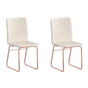 Conjunto Com 4 Cadeiras Brigatto Lana Rosé Gold E Palha