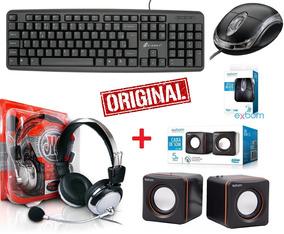 Teclado + Mouse Caixa Som + Fone Ouvido Headset C/ Microfone