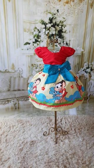 Vestido Da Mônica Luxo Temático Festa Aniversário