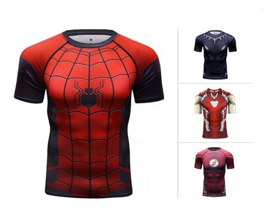 Oferta Camisa Compresion Marvel Dc Comics Dbz Playera Hombre 2 Manga Corta 1 Manga Larga Licra Crossfit Gym Rashguard
