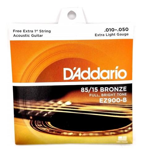 Encordoamento Violão Daddario 010 C/ Mi Extra Bronze Ez900-b